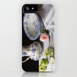 Delft blue china and apples still life iPhone Case
