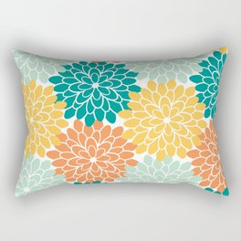 Petals in Orange, Mint, Apricot and Jade Rectangular Pillow