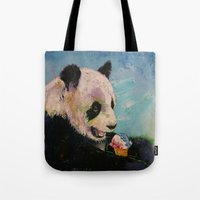 ice cream Tote Bags featuring Ice Cream by Michael Creese