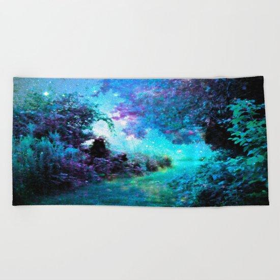 Fantasy Garden Path Turquoise Purple Beach Towel