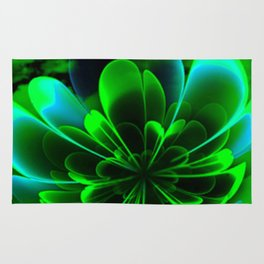 Abstract Green Flower Rug