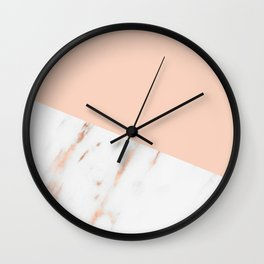 Pink Quartz and White Marble Rose Gold Wall Clock