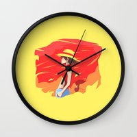 luffy Wall Clocks featuring Monkey D Luffy by Senior-X