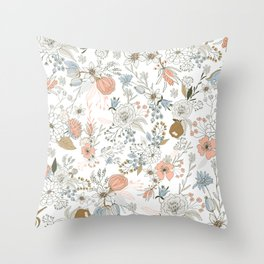 Abstract modern coral white pastel rustic floral Throw Pillow
