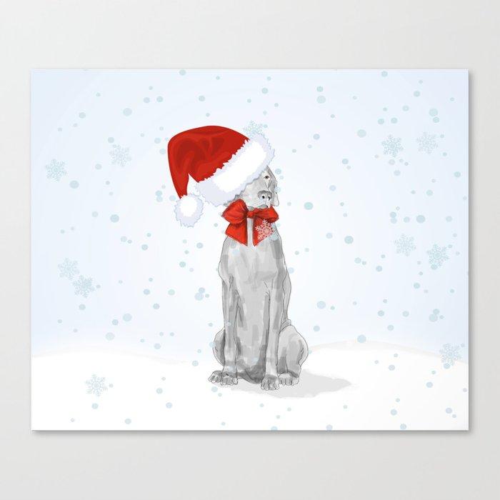 STANTA WEIMARANER IN THE SNOW Leinwanddruck