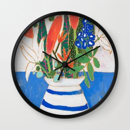 Nautical Striped Vase of Flowers Wall Clock