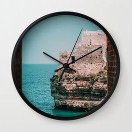 Italy Coast / Polignano Cliff Sea Wall Clock