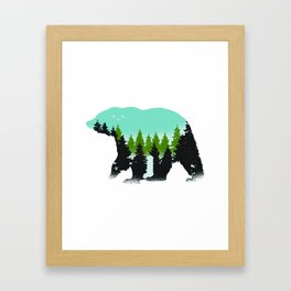 Animal Art Forest Bear With Green Trees Framed Art Print