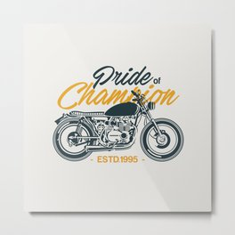 Classic Motorcycle Club Illustration Metal Print