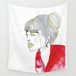 Iris - red sweater, grey hair Wall Tapestry