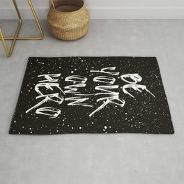 Be Your Own Hero (Black) Quote Rug
