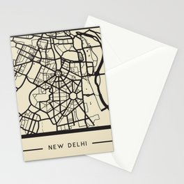 Abstract City Map - New Delhi, India Stationery Cards