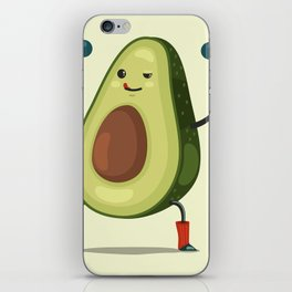 Cute Avocado cartoon character doing exercises with dumbbells. iPhone Skin