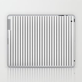 Mattress Ticking Narrow Striped Pattern in Dark Black and White Laptop & iPad Skin