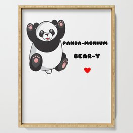 Without You Life Would Be Panda monium I Love You Beary Much Cute anda Pun Serving Tray