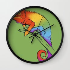 Confused chameleon Wall Clock