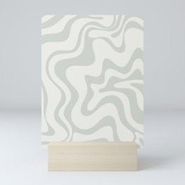 Liquid Swirl Abstract Pattern in Pale Stone and Light Silver Sage Gray Mini Art Print