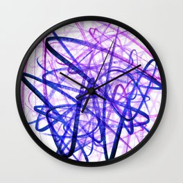 Violet Chaos Expressive Lines Abstract Wall Clock