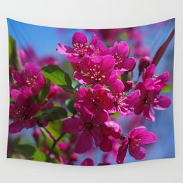 Rosy spring crabapple blossoms - Malus 'Prairifire' Wall Tapestry