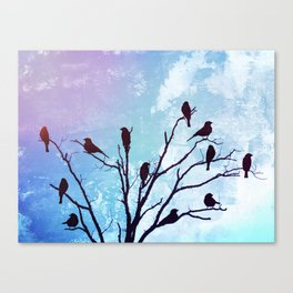 Blackbirds Tree Modern Cottage Chic Farmhouse Home Decor A503b Canvas Print