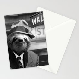Sloth in Wall Street Stationery Cards