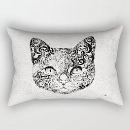 Swirly Cat Portrait (b/w) Rectangular Pillow