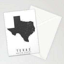 Texas Mono Black and White Modern Minimal Street Map Stationery Cards