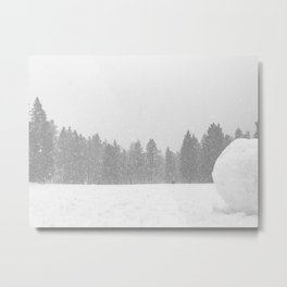 Giant Snowball // Making Snowmen Winter Landscape Photography Snowman Ball Snowy Day Metal Print
