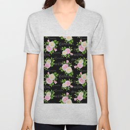 Watercolor blush pink white black camellia floral typography Unisex V-Neck