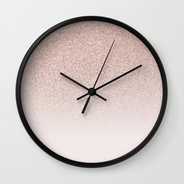 Modern Blush Pink Rose Ombre Glitter Gradient Wall Clock