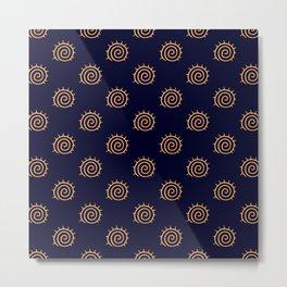 Navy Blue and yellow Swirl sun pattern Metal Print