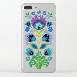 Polish Folk Flowers Purple Clear iPhone Case
