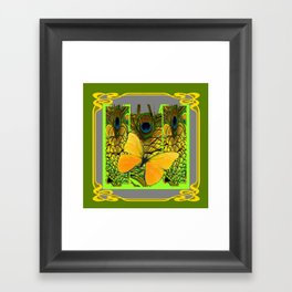 GREEN ART NOUVEAU BUTTERFLY PEACOCK PATTERNS Framed Art Print