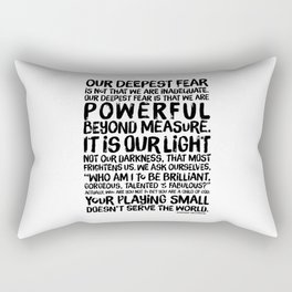 Inspirational Print. Powerful Beyond Measure. Marianne Williamson, Nelson Mandela quote. Rectangular Pillow