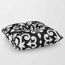 Scroll Damask Large Pattern White on Black Floor Pillow