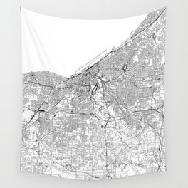 Cleveland White Map Wall Tapestry