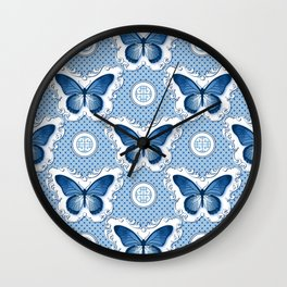 Chinoiseries Porcelain Butterfly Blue Wall Clock