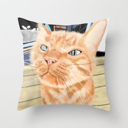 Sniffy Ginger Tabby Cat Throw Pillow