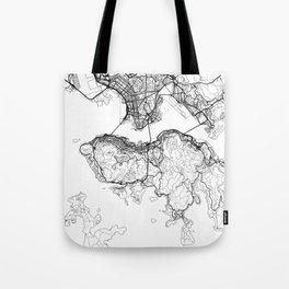 Hong Kong Map White Tote Bag