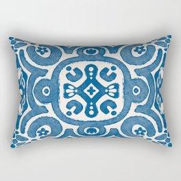 Blue Folk Dutch Delft Tile No. 6 Rectangular Pillow