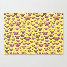 Pug Life  - Yellow and pink Canvas Print