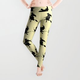 Black Flying Witches Broom Silhouette Halloween Leggings