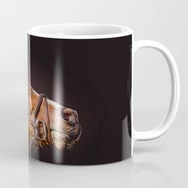 Horse portrait over a dark background. Closeup Horse Head. Coffee Mug