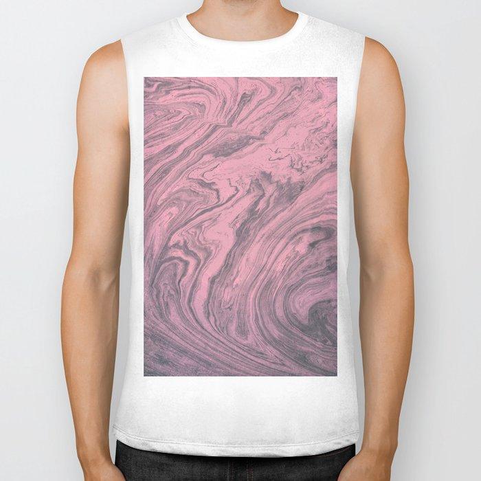 Pink Marbled Texture Biker Tank