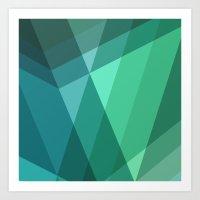 Fig. 046 Mint, Sea Green, Blue & Teal Geometric Art Print