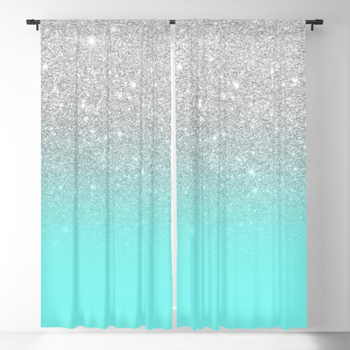 Modern Girly Faux Silver Glitter Ombre Teal Ocean Color