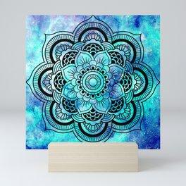 Galaxy Mandala Aqua Indigo Mini Art Print