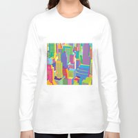 cityscape Long Sleeve T-shirts featuring Cityscape windows by Glen Gould