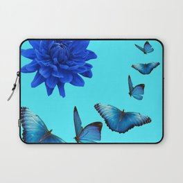 BLUE DAHLIA FLOWER & BLUE BUTTERFLIES ALLURE Laptop Sleeve