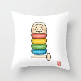 Daruma Otoshi [Special Lucky Toy Box] Throw Pillow